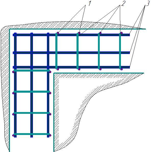 Схема армирования углов фундамента