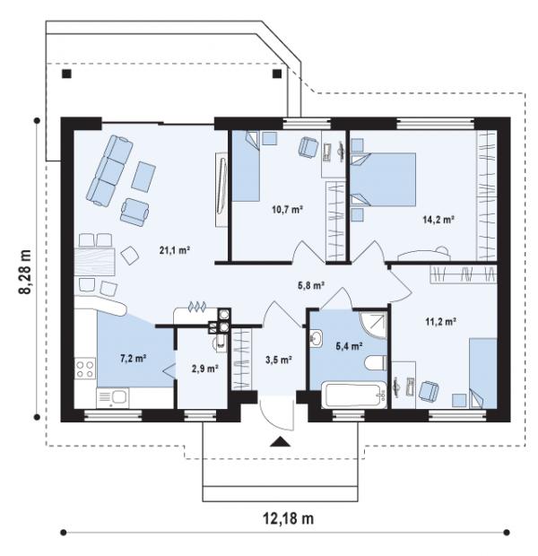 Проект недорогого одноэтажного дома [9]