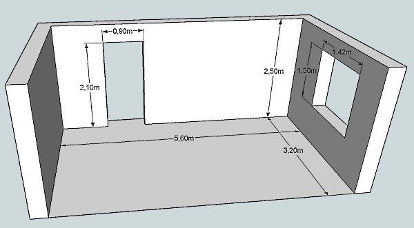 Расчет площади  стен