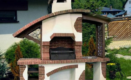 Садовая печь барбекю из кирпича для дома и дачи